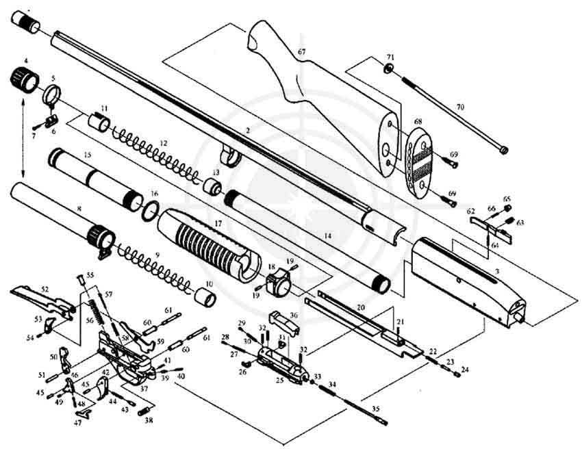 Рис. 1. Сборочные единицы и детали.  Схема устройства ружья МР-133 1* - Сменный насадок; 2 - Ствол; 3 - Коробка; 4...